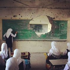 Photo from Shujayeh neighborhood in #Gaza during the first of schools there , the picture speaks about itself.
