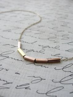 Rose gold bar necklace  rose gold and yellow by OliveYewJewels, $31.00