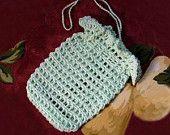 Spa Crochet Soap Saver Sack, Bag, Cotton Scrubbie, Drawstring Holder, Mint Green Color, Zen Bath