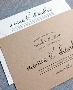 Monica Calligraphy Script Recycled Kraft by CricketPrinting, $3.00