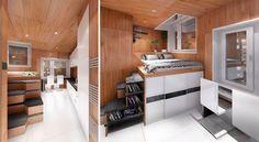 Оползотворяване на стълбищата, нива и ниши. Ако стаята е отделена със стени няма грижи и за звука.