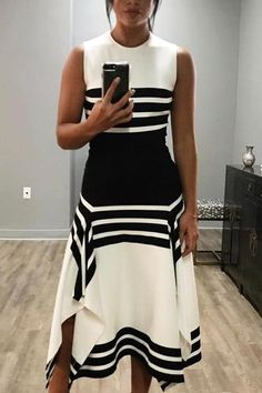 Shop Contrast Stripes Splicing Irregular Hem Dress – Discover sexy women fashion at Boutiquefeel Black Women Fashion, Look Fashion, Womens Fashion, Fashion Tips, Fashion Design, Feminine Fashion, Fashion Brands, Ladies Fashion, Fashion Boots