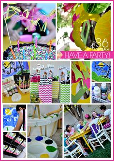 Art Birthday Party Ideas: art kits for each child, canvas for each to take home.