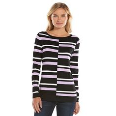 Dana Buchman Striped Crewneck Sweater - Women's