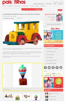Um produto da Elo7 foi publicado no Portal da Revista Pais e Filhos, em matéria com sugestões de presentes educativos para o Dia das Crianças.