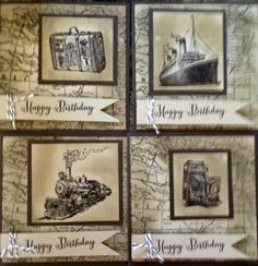 4x4 cards using Traveler stamp set from Stampin Up