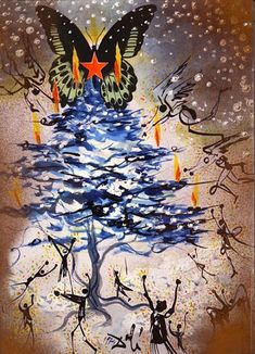"""Salvador Dali designed a series of nineteen Christmas cards between 1958 and 1976. These greeting cards were specially produced for the Barcelona-based company Hoechst Ibérica, and presented Dali's take on traditional Christmas celebrations. While popular in Spain, Dali's greeting cards were not as successful in America, particularly with card manufacturer Hallmark, who thought his """"surrealist take on Christmas proved a bit too avant garde for the average greeting card buyer."""""""