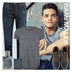 """Rami Malek"" by rochellechristine ❤ liked on Polyvore featuring Neuw denim, Vans, FOSSIL, Burberry, men's fashion and menswear"