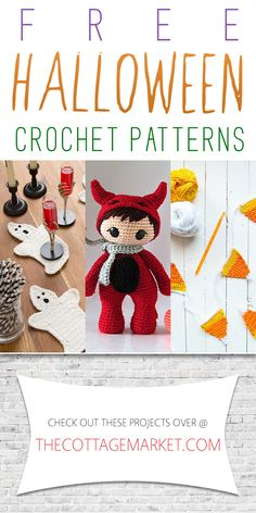 Crochet Projects Patterns Free Halloween Crochet Patterns - The Cottage Market - If you love to crochet.if you love Halloween and if you love FREE.you are going to go crazy over these Free Halloween Crochet Patterns! Crochet Fall, Holiday Crochet, Crochet Gifts, Crochet Toys, Free Crochet, Crochet Animals, Halloween Projects, Halloween Fun, Halloween Witches