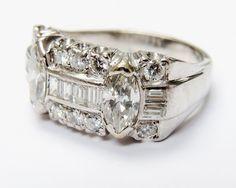 Retro Sheek  Vintage 1930s Platinum and Diamond Ring  #Retro #1930s #Diamond #Bling