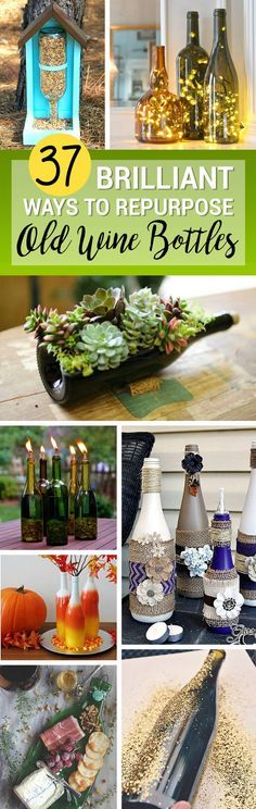 Don't throw out those empty wine bottles! Repurposed DIY wine bottle crafts come in many shapes and sizes, so you can still use them even if the last drop of red has been squeezed from the cork. 37 Cute Repurposed DIY Wine Bottle Crafts for a Fun Afternoon Project As for what you can ma...