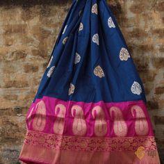Blue Bodies, Elegant Saree, Pure Joy, Handloom Saree, Saree Wedding, Indian Sarees, Midnight Blue, Bridal Collection, Soft Fabrics