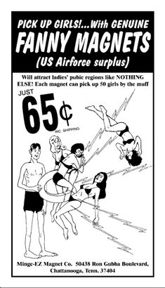 Pick up girls with genuine Fanny Magnets. Advert from Viz Comic