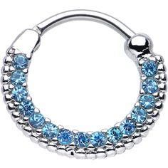 "16 Gauge 3/8"" Aqua CZ Ring of Brilliance Septum Clicker | Body Candy Body Jewelry"