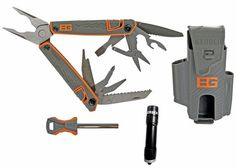 Gerber and Bear Grylls developed the most complete pocket tool kit. It comes with a multi-tool equipped with wire cutters, a serrated blade, and 10 more implements. There's also a pocket guide to survival and a fire starter—all housed in a rubber holster.