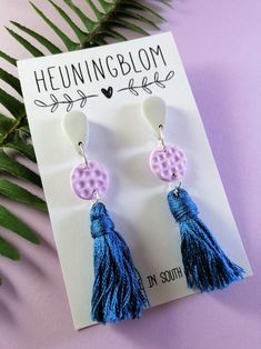 Pastel grey, lilac & blue tassel polymer clay earrings. Polymer clay statement earrings, polymer clay inspiration, art ideas, polymer clay jewelry trends, beautiful one of a kind earrings, south african artist, pretoria artist, south african polymer clay entrepreneur, gift idea, unique earrings, earring style, trendy earrings, accessories, modern jewellery, earring designer, gift for her, light weight earrings Unique Earrings, Statement Earrings, Dangle Earrings, South African Artists, Stainless Steel Earrings, Handmade Polymer Clay, Earring Backs, Polymer Clay Earrings, Designer Earrings