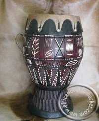 Traditional wooden Zulu drum that originated from KwaZulu Natal, South Africa