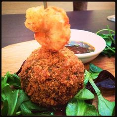 Sicilian Donkey's Fusion Thai Prawn Red Curry Arancini with nuoc cham dipping sauce