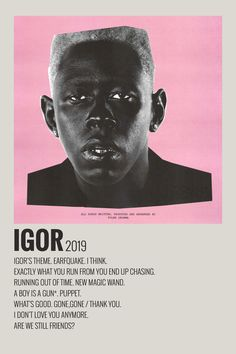 Alternative Minimalist Music Album Cover Poster Igor by Tyler the Creator Tyler The Creator, Room Posters, Poster Wall, Poster Prints, Vintage Music Posters, Vintage Movies, Minimalist Music, Music Collage, Minimal Poster