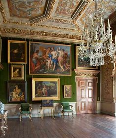 The Green Saloon, also called the Carlo Maratta room at Houghton Hall. Original… The Green Saloon, also called the Carlo Maratta room at Houghton Hall. Originally hung with. Houghton House, Houghton Hall, Georgian Interiors, French Interiors, English Architecture, English House, Classic Interior, Beautiful Interiors, Home Art
