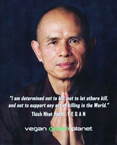 """""""I am determined not to kill, not to let others kill, and not support any act of killing in the world."""" - Thich Nhat Hanh (Vegan)"""
