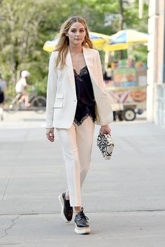 Sweet-as suits are perfect for work but they make even better alternative wedding guest attire. Take style cues from Olivia Palermo and switch up your heels later in the day for some comfy trainers. Daytime to night-time = sorted (but maybe don't go for white, like Olivia)...