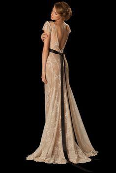 Backless wedding gown  #weddingdress #belt See more http://www.love4weddings.gr/romantic-wedding-gowns-anna-anemomilou-anem/