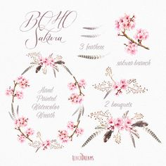 Sakura Wreath Bouquets Feathers. Hand Painted por ReachDreams