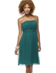 Pleated Chiffon Dress- $53.94, Emerald Green, The Limited