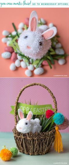 Easy Pom Pom Bunny Tutorial by LiaGriffith.com #easterdiy #pompom #easterbunny #pompombunny #eastercrafts #easter