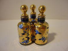 Antique Coalport Triple Scent Perfume Bottle