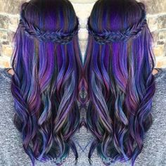 Purple color melt with adorable braid rainbow hair mermaid hair unicorn hair Hair Color And Cut, Cool Hair Color, Amazing Hair Color, My Hairstyle, Pretty Hairstyles, Love Hair, Gorgeous Hair, Coloured Hair, Unicorn Hair