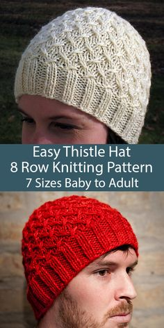 Free Knitting Pattern for Easy 8 Row Repeat Thistle Hat in 7 Sizes Baby . Free Knitting Pattern for Easy 8 Row Repeat Thistle Hat in 7 Sizes Baby to Adult- Free Knitting Pat Crochet Beanie, Knitted Hats, Crochet Hats, Easy Knitting, Knitting For Beginners, Knit Hat Pattern Easy, Beanie Knitting Patterns Free, Baby Hat Knitting Patterns Free, Scarf Patterns