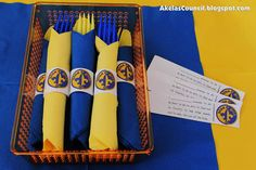 Paper Napkin Ring PRINTABLE for the Blue & Gold Banquet. This site has a lot of great neckerchief slide ideas and also other great Cub Scout ideas.