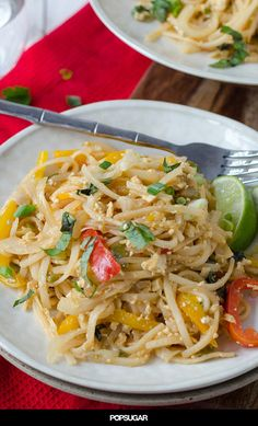 Easy Vegan Drunken Noodles! Spicy sauce with rice noodles and vegetables. Easier and healthier than Thai takeout!