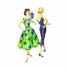 1950s V-Back Cocktail Party Dress Slim or Full by patternshop