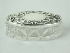 Antique English Oval Silver and Crystal Trinket Box