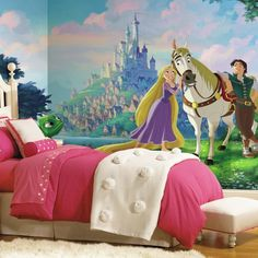 Bring your child favorite Disney movie to life in their room with this Disney Tangled XL Chair Rail Prepasted Mural. Great kids of all ages, this wall wallpaper mural adds fun to a wall with ease. To apply, simply apply water to each of the Mural Da Disney, Disney Wall Murals, Disney Princess Cinderella, Disney Tangled, Tangled Rapunzel, Cinderella Carriage, Rapunzel Castle, Tangled Tower, Disney Frozen