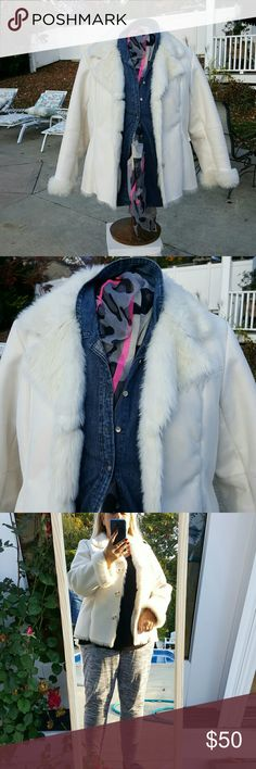 Coldwater Creek 1X  Faux Fur Jacket. Fun little, warm coat for winter. Very pretty in white. Very substantial garment. Only worn a couple of times. Fits true to size, works for a 16 with room for a sweater.  Won't close on model, size 18. Coldwater Creek Jackets & Coats Blazers