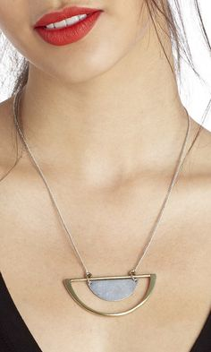 Geometric pendant necklace in gold & silver-toned metal