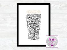 Pint of Antrim Pubs Wall Art Print With Some of the Best Known Pubs from around the County by JumbleinkArt on Etsy Irish Quotes, Fathers Day Presents, Irish Art, Frame Sizes, Frame Shop, House Warming, Wall Art Prints, Ireland, Etsy