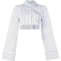 Off-White cropped striped shirt (£475) ❤ liked on Polyvore featuring tops, white, collared shirt, long sleeve collared shirt, white crop tops, white shirt and striped crop top