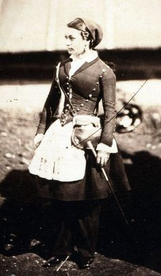 A French 'cantinière' or 'vivandière' in the Crimea during the Crimean War in 1855, photographed by Roger Fenton. French name for women attached to military regiments as sutlers or canteen keepers.