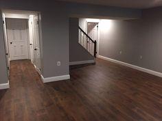 Mohawk Midday Mocha Oak laminate flooring and Behr's Gentle Rain paint Oak Laminate Flooring, Flooring, Home Remodeling, New Homes, House, Basement Bedrooms, Basement Decor, Home Decor, Basement Remodeling