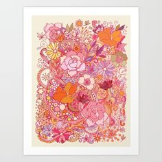 Collect your choice of gallery quality Giclée, or fine art prints custom trimmed by hand in a variety of sizes with a white border for framing. #MAWPrints https://society6.com/product/detailed-summer-floral-pattern_print#s6-4642883p4a1v45/?curator=mawitty