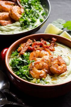 Chilled avocado bisque made dairy free with coconut milk, avocado and smoky paprika shrimp. 10 minutes to make avocado soup and is perfect cold summer soup recipe. | ifoodreal.com