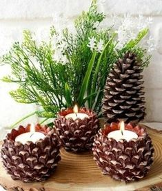 Vyrobte si nádherné jesenné dekorácie zo šišiek, ktoré ste si nazbierali pri prechádzke - sikovnik.sk Christmas Pine Cones, Simple Christmas, Winter Christmas, Christmas Centerpieces, Christmas Decorations, Support Bougie, Christmas Artwork, Pine Cone Decorations, Diy Shops