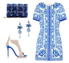 Blue and white set by gloria-yi-qiao on Polyvore featuring polyvore, fashion, style, Dolce&Gabbana, Giuseppe Zanotti, Oscar de la Renta and clothing
