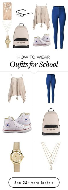 """School look #1"" by hajarshelley on Polyvore featuring Sans Souci, Converse, Balenciaga, Corinne McCormack and Forever 21"