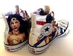 68cfe8cdc8692b NEW Wonder Woman Bling Converse Superhero by JezelleDesigns